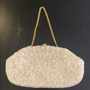 Vintage beaded Clutch with gold chain.